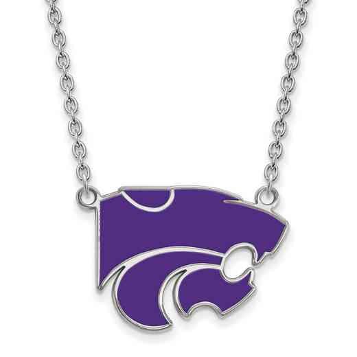SS071KSU-18: LogoArt NCAA Enamel Pendant - Kansas St - White