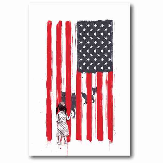 WEB-MV185: American Flag with Girl Canvas 12x18