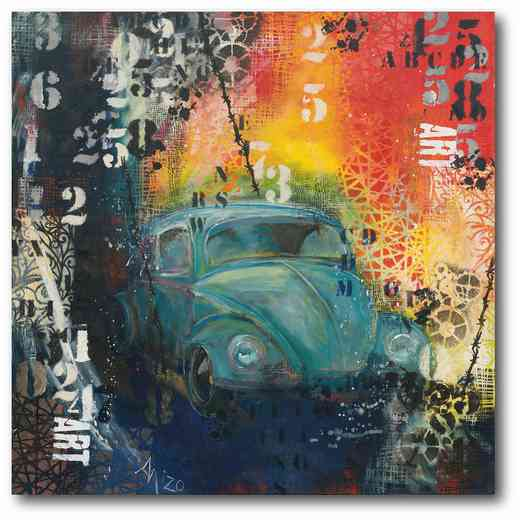 WEB-P165: Blue Beetle Car Canvas 16x16