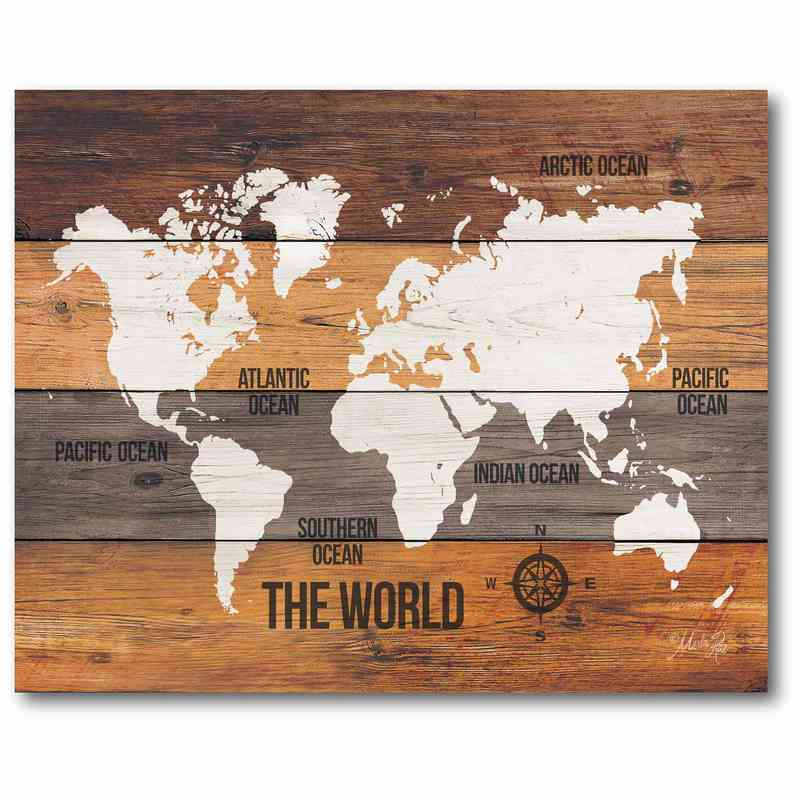 Wooden World Map 16 X 20 Canvas Wall Art Home