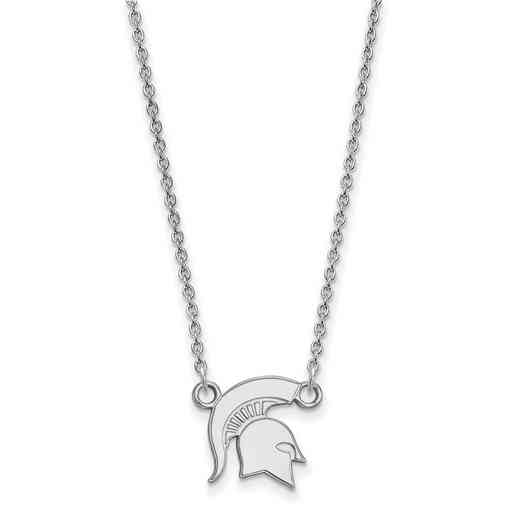 SS056MIS-18: LogoArt Michigan State Small Neck - White