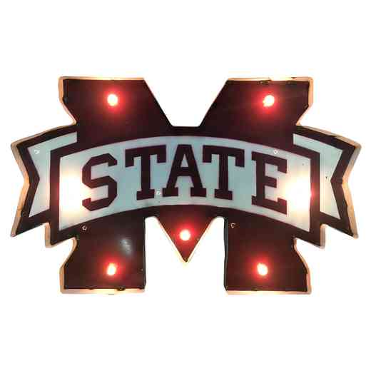 MSSTATEWDLGT: MS ST Metal Décor w/Lights
