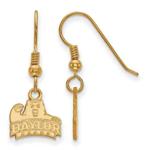 GP005BU: SS YGFP LogoArt Baylor XS Dangle Earrings - Yellow