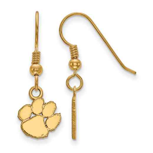 GP006CU: SS YGFP LogoArt Clemson XS Dangle Earrings - Yellow