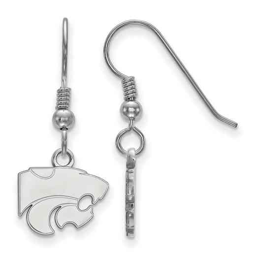 SS006KSU: SS LogoArt Kansas St XS Dangle Earrings - White