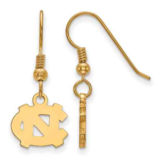 GP006UNC: SS YGFP LogoArt N Carolina XS Dangle Earrings - Yellow