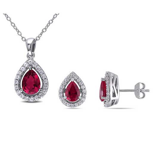 BAL000073: 925 CR 8x6MM RUBY/WHSA TRDRP PDT/E SET - White