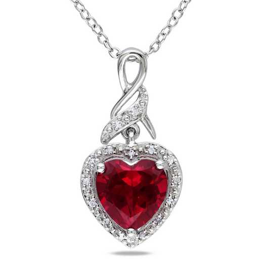 BAL000230: 925 8MM CR RUBY/DIA ACCNT HEART TWIST PENDT