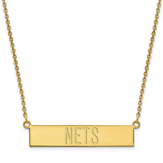 GP025NET-18: 925 YGFP Brooklyn Nets Bar Necklace