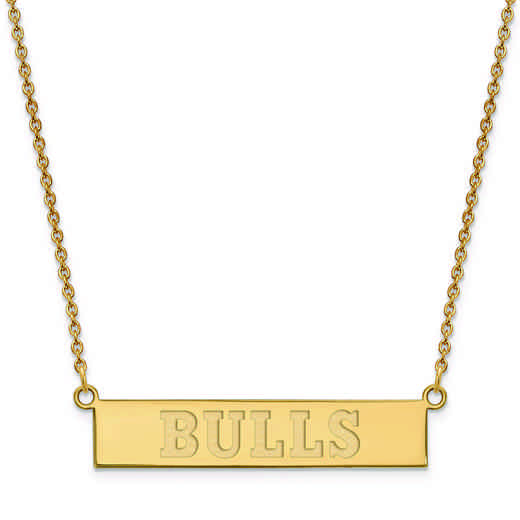 GP027BUL-18: 925 YGFP Chicago Bulls Bar Necklace