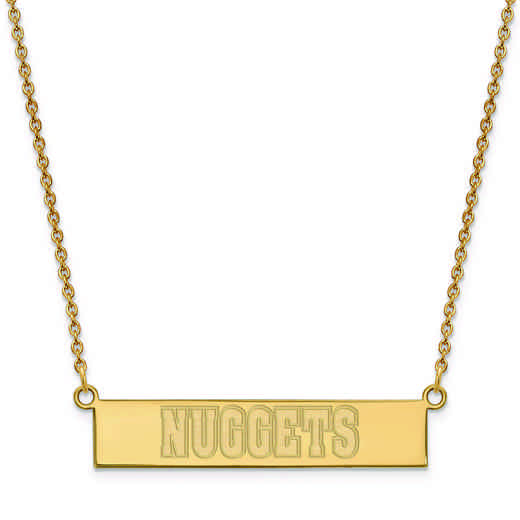 GP023NUG-18: 925 YGFP Denver Nuggets Bar Necklace