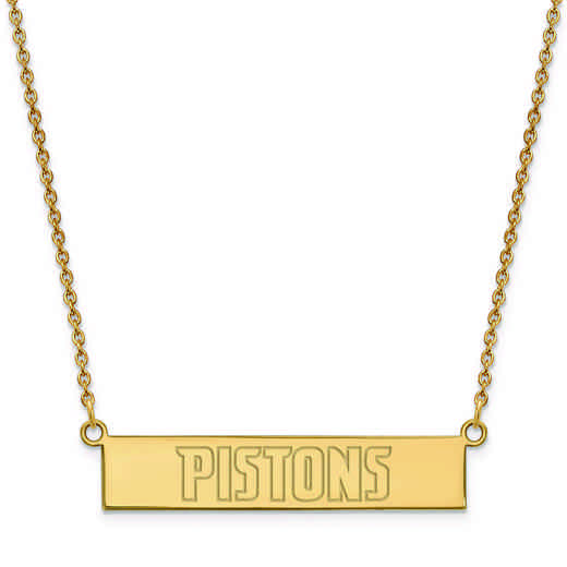 GP023PST-18: 925 YGFP Detroit Pistons Bar Necklace