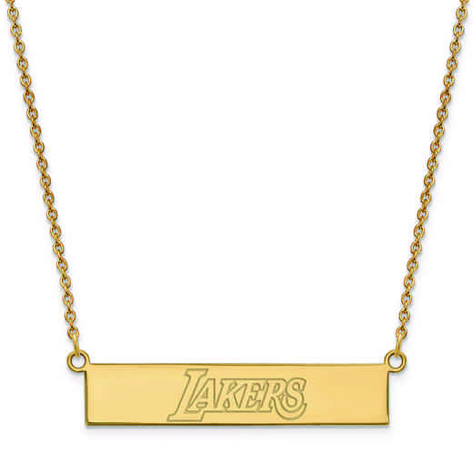 GP035LAK-18: 925 YGFP Los Angeles Lakers Bar Necklace