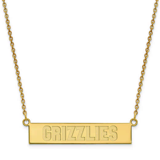 GP023GRI-18: 925 YGFP Memphis Grizzlies Bar Necklace