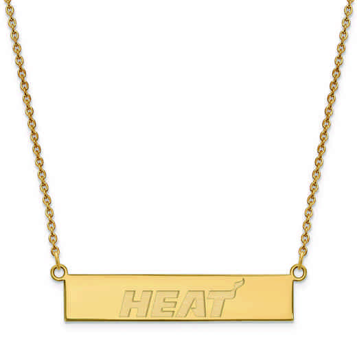 GP027HEA-18: 925 YGFP Miami Heat Bar Necklace
