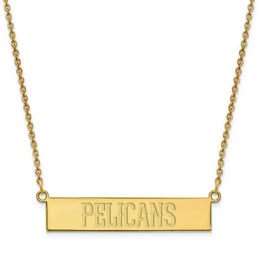 GP023PEL-18: 925 YGFP New Orleans Pelicans Bar Necklace