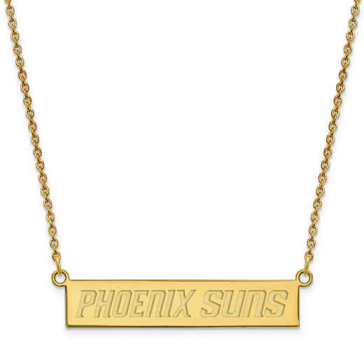 GP023SUN-18: 925 YGFP Phoenix Suns Bar Necklace