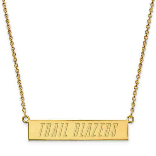 GP023TRA-18: 925 YGFP Portland Trail Blazers Bar Necklace