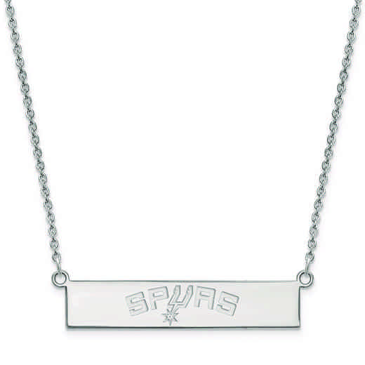 SS033SPU-18: 925 San Antonio Spurs Bar Necklace