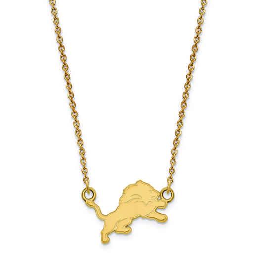 GP011LIO-18: 925 YGFP Detroit Lions Pendant Necklace