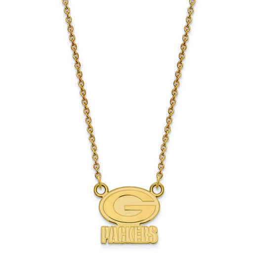 GP011PAC-18: 925 YGFP Green Bay Packers Pendant Necklace