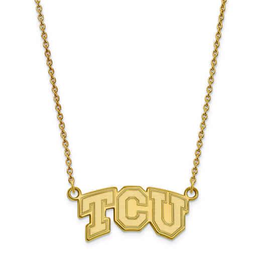 GP005TCU-18: 925 YGFP LogoArt Texas Christian Univ Pendant Necklace