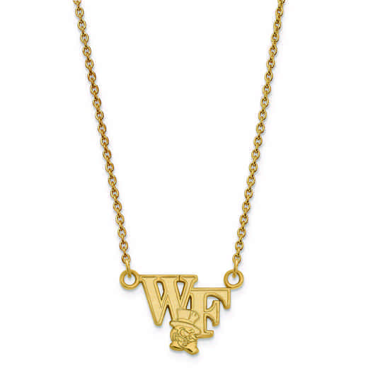 GP047WFU-18: 925 YGFP LogoArt Wake Forest Univ Pendant Necklace