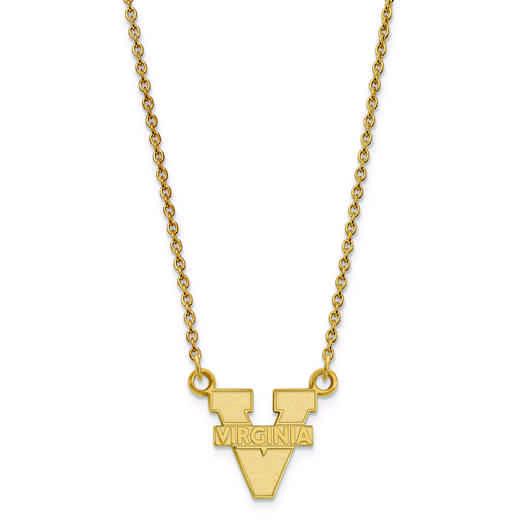 GP015UVA-18: 925 YGFP LogoArt Univ of Virginia Pendant Necklace