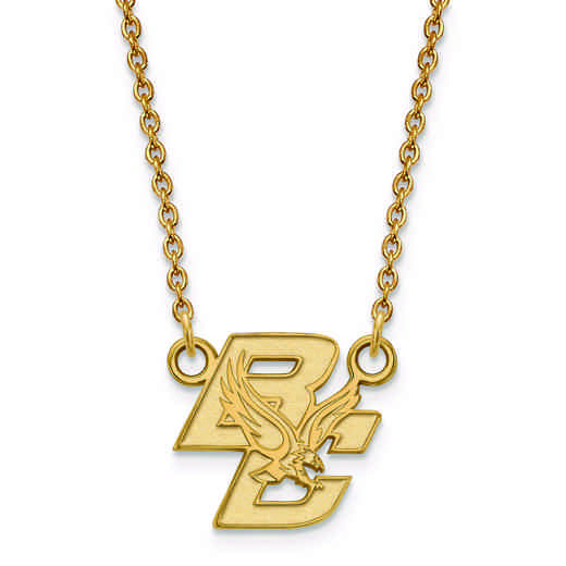 GP013BOC-18: 925 YGFP LogoArt Boston College Pendant Necklace