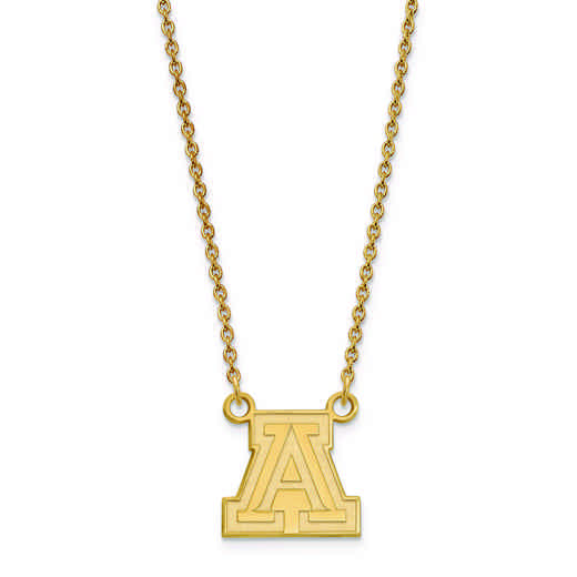 GP011UAZ-18: 925 YGFP LogoArt Univ of Arizona Pendant Necklace