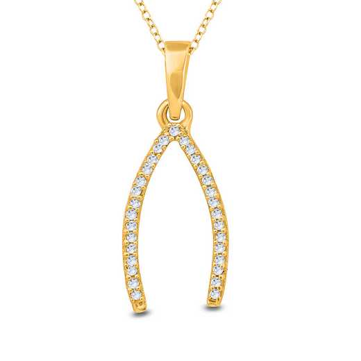 PFA30846-YG: 925 YGP DIA ACCENT WISHBONE PENDANT NECKLACE