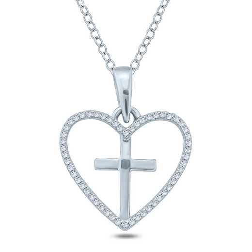 PHB38273: 925 1/10CTTW DIA CROSS WITHIN HEART PEND NECK
