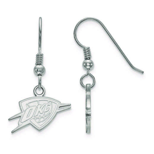 SS026THN: 925 LogoArt Oklahoma City Thunder Dangle Ears
