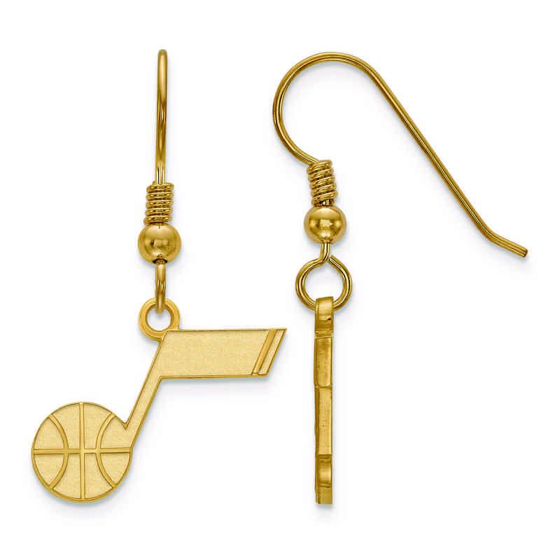 sale retailer ac54c 07bb2 Utah Jazz Jumpshot Gold Flash Plated Sterling Silver NBA Dangle Earrings