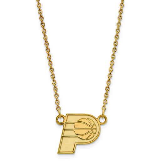 GP012PCR-18: 925 YGFP LogoArt Indiana Pacers Pendant Neck