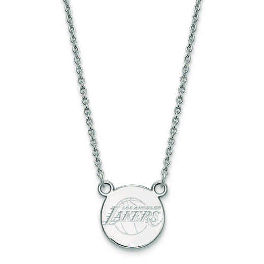 SS022LAK-18: 925 LogoArt Los Angeles Lakers Small Disc Pendant Neck