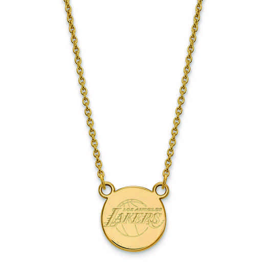 GP022LAK-18: 925 YGFP LogoArt LA Lakers Small Disc Pendant Neck