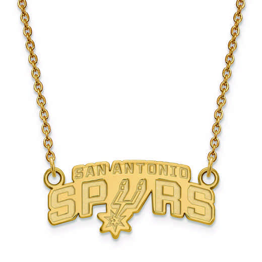 GP010SPU-18: 925 YGFP LogoArt San Antonio Spurs Pendant Neck