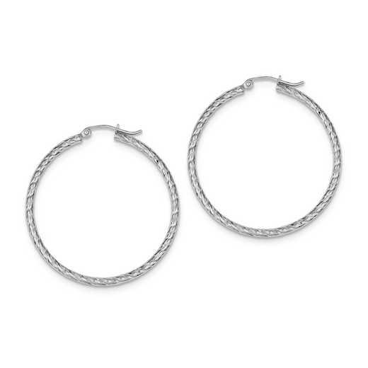 QE8079: 925 Rhodium Plated D/C 2mm x 40mm Hoop Earrings
