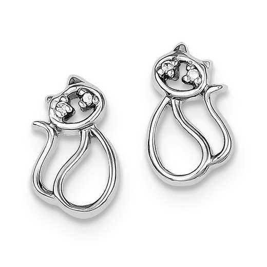 QE8685: 925 Rhodium Plated CZ Open Cat Post Earrings