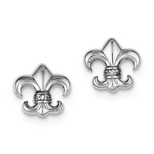 QE9225: 925 Rhodium Plated CZ Fleur de lis Post Earrings