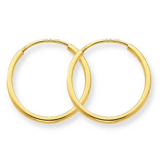 XY1209: 14K YG 1.25MM ENDLESS HOOP EARRINGS