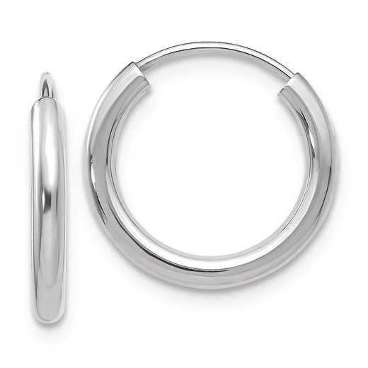 H989: 14K WG 2MM ENDLESS HOOP EARRINGS