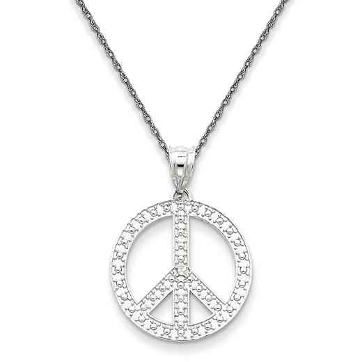 K4106/5RW-18: 14K White Peace Symbol Pendant Necklace