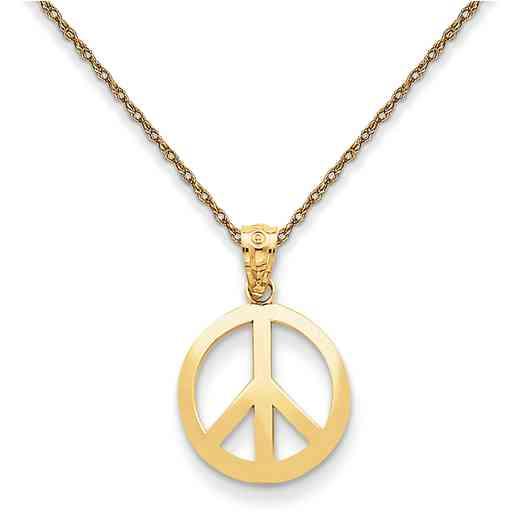 YC815/5RY-18: 14K YG Polished Peace Sign Circle Pendant Necklace