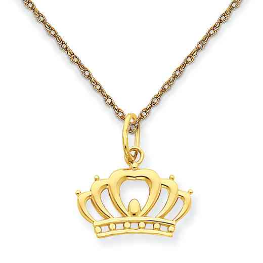 YC1036/5RY-18: 14K YG Crown Pendant Necklace Necklace