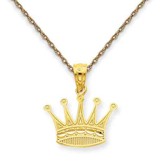 YC1037/5RY-18: 14K YG Crown Pendant Necklace