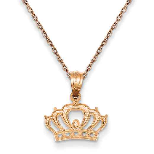 YC1110/5RR-18: 14K RG Crown Pendant Necklace