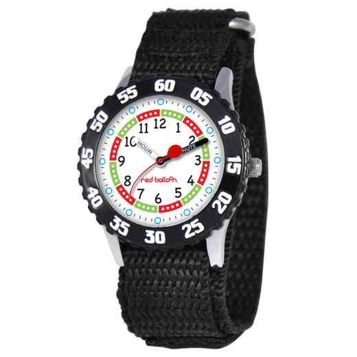 W000176: Red Balloon Boys STNLSTL Black Time Teach Watch