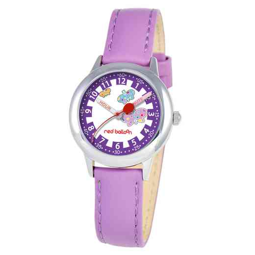 W000191: Red Balloon Girls STNLSTL TimeTeach Purp Leath Watch